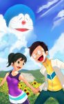-_- 1girl 2boys animal black_hair brown_eyes cat closed_eyes clouds doraemon doraemon_(character) glasses grass holding_hands house minamoto_shizuka mountain mushimushi nobi_nobita open_mouth pants pixiv ponytail robot short_hair sky stand_by_me_doraemon sunflower violet_blouse volet_pants white_shirt yellow_shirt