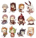 4girls 6+boys aira_kanae animal_ears animal_print beard black_sclera blue_eyes bright_pupils brown_eyes brown_hair bunny_boy bunny_tail cow_horns dog_ears earrings facial_hair fake_animal_ears fake_tail fangs flamethrower glasses green_hair hair_bun helmet horns hose icethrower inou_toshiko jewelry juuni_taisen kashii_eiji matador multiple_boys multiple_girls niwa_ryouka old_man orange_eyes orange_hair pitchfork rabbit_ears red_eyes sandogasa sharp_teeth sheep_horns siblings silver_hair souma_yoshimi ssalbulre sumino_tsugiyoshi tail tank_top teeth tiger_ears tiger_print tsujiie_sumihiko tsukui_michio tsumita_nagayuki tsumita_takeyasu twins twintails usagi_(juuni_taisen) weapon white_hair yellow_eyes yuuki_misaki