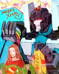 1boy 1girl 80s animal buster_(dog) character_request closed_eyes clothed_animal decepticon dog long_hair oldschool open_mouth personification pet red_eyes smile thundercracker toriko_(hogetara) transformers upper_body