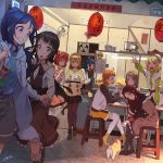 6+girls :o ahoge animal bag bangs belt black_hair black_legwear black_ribbon black_skirt blonde_hair blue_cardigan blue_eyes blue_hair boots bowl braid cardigan center_frills chopsticks commentary_request crown_braid dog dress eating fan green_eyes grey_hair grin hairband half_updo hand_holding highres hood hood_down index_finger_raised kunikida_hanamaru kurosawa_dia kurosawa_ruby lantern long_hair long_sleeves love_live! love_live!_sunshine!! matsuura_kanan mole mole_under_mouth multiple_girls neck_ribbon ohara_mari orange_shorts pantyhose paper_lantern pink_dress pleated_skirt ponytail redhead regition restaurant ribbon sakurauchi_riko shorts shoulder_bag side_bun signature skirt smile stool sweatdrop sweater table takami_chika television tray tsushima_yoshiko two_side_up violet_eyes watanabe_you white_legwear