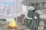 2girls black_hair blonde_hair blue_eyes chito_(shoujo_shuumatsu_ryokou) fire fur_trim gloves gun helmet kettenkrad long_hair military military_uniform multiple_girls rifle shibanme_tekikumo shoujo_shuumatsu_ryokou sitting smile snow stahlhelm standing uniform weapon yuuri_(shoujo_shuumatsu_ryokou)