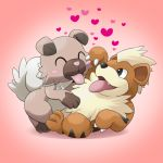 :p ^_^ ^o^ blush_stickers claws closed_eyes dog fang full_body gradient gradient_background growlithe happy heart lying mameshiba no_humans on_back pink_background pokemon pokemon_(creature) rockruff tongue tongue_out