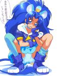 1girl animal_ears blue_eyes blue_footwear blue_gloves blue_hair blue_legwear boots choker cure_gelato earrings extra_ears fang gloves jewelry kikurage_(crayon_arts) kirakira_precure_a_la_mode lion_ears lion_tail long_hair looking_at_viewer magical_girl open_mouth precure simple_background single_thighhigh solo speech_bubble squatting tail tategami_aoi thigh-highs translation_request white_background