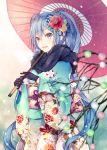 1girl black_gloves blue_hair flower gloves hair_flower hair_ornament hatsune_miku japanese_clothes kimono long_hair oriental_umbrella shiomizu_(swat) solo twintails umbrella very_long_hair vocaloid