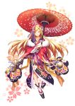 1girl absurdres bai_linqin blonde_hair full_body hair_ornament highres japanese_clothes kimono long_hair looking_at_viewer monogatari_(series) nengajou new_year oriental_umbrella oshino_shinobu pointy_ears solo umbrella yellow_eyes