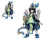 1girl arms_up bangs black_hair blue_eyes blue_legwear china_dress chinese_clothes detached_sleeves dragon_girl dragon_horns dress fingerless_gloves gauntlets gloves greaves green_dress hair_ornament head_fins horns karin_(p&d) lace long_hair looking_at_viewer open_mouth p_(tidoriashi) pantyhose pixel_art puzzle_&_dragons shoes simple_background solo spiked_knuckles spikes standing tagme very_long_hair weapon white_background