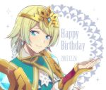 1girl birthday blonde_hair blue_eyes blue_hair christmas crown dress earrings feather_trim fire_emblem fire_emblem_heroes fjorm_(fire_emblem_heroes) gradient gradient_hair hiyori_(rindou66) jewelry looking_at_viewer multicolored_hair short_hair simple_background smile solo