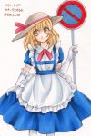 1girl 2015 apron bangs blonde_hair blue_dress character_name closed_mouth collared_dress dated dress dress_lift elbow_gloves eyebrows eyebrows_visible_through_hair eyelashes facing_viewer frilled_apron frilled_gloves frills gloves grey_hat hair_between_eyes hat hat_ribbon highres holding io_(maryann_blue) kana_anaberal legs_apart lifted_by_self long_hair looking_away looking_to_the_side maid_apron pantyhose red_ribbon ribbon road_sign sign smile solo standing tareme touhou touhou_(pc-98) traditional_media twitter_username watercolor_(medium) white_apron white_gloves white_legwear yellow_eyes