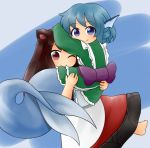 ;) animal_ears arm_on_head barefoot blue_background blue_eyes blue_hair brown_hair carrying dress green_kimono head_fins imaizumi_kagerou japanese_clothes kimono layered_dress long_hair looking_at_viewer looking_back mermaid monster_girl obi one_eye_closed princess_carry red_eyes sash short_kimono smile touhou two-tone_background wakasagihime wolf_ears yukimuro