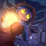 :< animal_hat brown_eyes brown_hat building cat_hat closed_mouth fisheye glowing hair_between_eyes hat holding houten_(dre_a_mer) light_bulb looking_back night night_sky niko_(oneshot) oneshot_(game) outdoors purple_hair rust scarf short_hair sky sleeves_past_wrists solo standing star_(sky) starry_sky yellow_sclera
