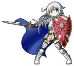 1girl armor armored_boots armored_dress artist_name bangs blue_cape blue_eyes boots cape closed_mouth dungeons_and_dragons emblem eyebrows_visible_through_hair full_body gauntlets gloves hair_between_eyes hibiki_(kantai_collection) highres holding holding_shield holding_sword holding_weapon kantai_collection knight long_hair looking_at_viewer outstretched_arm paladin raythalosm shield silver_hair simple_background solo standing sword thigh-highs v-shaped_eyebrows weapon white_background