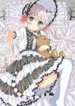 1girl animal_ears bangs bed bed_sheet blue_eyes blue_hat blue_legwear blush commentary_request eyebrows_visible_through_hair flower hair_between_eyes hair_flower hair_ornament hat lace lace-trimmed_skirt layered_skirt lolita_fashion long_hair long_sleeves looking_at_viewer lying multicolored multicolored_clothes multicolored_skirt on_bed on_side original outstretched_arm parted_lips pillow red_rose rose shirt silver_hair skirt solo stuffed_animal stuffed_toy tail teddy_bear thigh-highs tiger_ears tiger_girl tiger_tail toujou_mina very_long_hair wavy_hair white_shirt