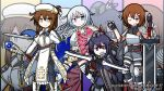 4girls ;) akatsuki_(kantai_collection) archery armor armored_boots armored_dress arrow artist_name bangs belt belt_buckle black_gloves blade blue_eyes boots bow_(weapon) breastplate broadsword brown_belt brown_footwear brown_hair buckle cape character_name closed_mouth commentary_request cross-laced_footwear dungeons_and_dragons emblem eyebrows_visible_through_hair eyepatch fingerless_gloves folded_ponytail fur-trimmed_boots fur_trim gauntlets gem gloves grey_footwear grey_hat grey_legwear hair_between_eyes hair_ornament hairclip hat hat_feather hibiki_(kantai_collection) highres holding holding_bow_(weapon) holding_shield holding_staff holding_sword holding_weapon ikazuchi_(kantai_collection) inazuma_(kantai_collection) kantai_collection knight lace-up_boots long_hair looking_at_viewer mini_hat multiple_girls one_eye_closed one_knee open_mouth paladin pantyhose parted_lips purple_hair quiver raythalosm robe shield short_hair shoulder_armor silver_hair skirt smile sparkle staff sword thigh-highs thigh_boots twitter_username v-shaped_eyebrows very_long_hair violet_eyes wavy_mouth weapon yellow_eyes