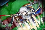 2girls armor armored_boots armored_dress artist_name battle blood blue_eyes boots bracelet cape casting_spell commentary decapitation dungeons_and_dragons dutch_angle emblem forest gauntlets gloves goblin grass green_skin hibiki_(kantai_collection) highres inazuma_(kantai_collection) jewelry kantai_collection knee_pads knight long_hair magic_circle multiple_boys multiple_girls nature paladin pointy_ears raythalosm shield silver_hair spiked_bracelet spikes sword weapon