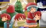 2girls ^_^ barefoot blue_hair box christmas christmas_tree clock closed_eyes commentary_request disembodied_head futon gift gift_box hat indoors kneeling looking_at_another multiple_girls night nose_bubble open_mouth pillow red_eyes redhead sack santa_costume santa_hat sekibanki short_hair sleeping smile star tatara_kogasa touhou translation_request under_covers window yukimuro zzz