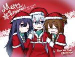 3girls ;) ^_^ akatsuki_(kantai_collection) bangs blue_eyes blush brown_hair capelet closed_eyes closed_mouth commentary_request dress english eyebrows_visible_through_hair folded_ponytail fur-trimmed_capelet fur-trimmed_hat girl_sandwich gloves hair_between_eyes hand_on_another's_shoulder happy_new_year hat hibiki_(kantai_collection) inazuma_(kantai_collection) kantai_collection long_hair long_sleeves looking_at_viewer looking_to_the_side merry_christmas multiple_girls new_year one_eye_closed parted_lips purple_hair raythalosm red_capelet red_dress red_hat sandwiched santa_costume santa_hat sidelocks silver_hair smile snowflakes twitter_username upper_body v-shaped_eyebrows very_long_hair violet_eyes white_gloves