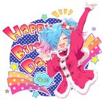 1girl birthday blue_hair blush breasts christmas dress fire_emblem fire_emblem_if hair_over_one_eye hiyori_(rindou66) long_hair looking_at_viewer multicolored_hair open_mouth pieri_(fire_emblem_if) pink_hair red_eyes santa_costume simple_background smile solo twintails two-tone_hair