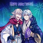 2boys blonde_hair cape cloak fan fire_emblem fire_emblem:_kakusei fire_emblem_if fireworks gzei haori happy_new_year highres japanese_clothes looking_at_viewer male_my_unit_(fire_emblem:_kakusei) male_my_unit_(fire_emblem_if) multiple_boys my_unit_(fire_emblem:_kakusei) my_unit_(fire_emblem_if) new_year night night_sky open_mouth pointy_ears short_hair silver_hair sky smile v