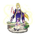 1girl alice_schuberg blonde_hair blue_eyes blue_kimono faux_figurine floating_hair floral_print full_body fur_trim hair_between_eyes head_wreath holding japanese_clothes jpeg_artifacts kimono long_hair looking_at_viewer obi parted_lips sash simple_background smile solo standing sword_art_online very_long_hair white_background white_legwear yukata