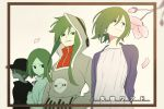 age_progression black_eyes child flower green_hair hat highres hood hoodie kagerou_project kido_tsubomi long_hair multiple_persona older petals rozu_ki short_hair