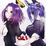 2girls breasts commentary_request eyepatch gloves headgear kantai_collection large_breasts long_sleeves magai_akashi mechanical_halo multiple_girls purple_hair school_uniform short_hair short_sleeves tatsuta_(kantai_collection) tenryuu_(kantai_collection) upper_body violet_eyes