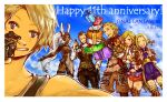 2017 3boys 3girls ^_^ animal_ears anniversary armor ashelia_b'nargin_dalmasca balflear basch_fon_ronsenburg bikini_armor blonde_hair blue_eyes blue_sky blush boots bouquet box breasts champagne_bottle cleavage closed_eyes commentary_request dark_skin dated facial_hair final_fantasy final_fantasy_xii fingerless_gloves flower fran gift gift_box gloves goatee group_picture hair_slicked_back headgear medium_breasts miniskirt mochi_(hanamaruudondesu) multiple_boys multiple_girls over-kneehighs pauldrons penelo rabbit_ears red_eyes see-through self_shot silver_hair skirt sky smile sweatdrop thigh-highs thigh_boots unitard vaan viera