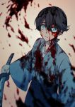 10s 1boy aluce black_hair blood blood_on_face bloody_clothes blue_eyes earrings hair_between_eyes hakama holding holding_sword holding_weapon horikawa_kunihiro japanese_clothes jewelry kimono looking_up male_focus scared sword touken_ranbu weapon