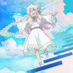 1girl blonde_hair blue_eyes blue_sky blush bow clouds commentary_request dress fairy_wings hair_bow hat highres lily_white long_hair looking_at_viewer open_mouth outstretched_arms red_bow red_sash sash shoes signature sky smile solo stairs touhou white_dress white_hat white_shoes wide_sleeves wings yutamaro