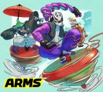 1girl 2018 2boys arms_(game) bangs beanie blonde_hair chains domino_mask food goggles green_eyes green_hair hat helmet highres japanese_clothes kid_cobra kimono long_hair looking_at_viewer male_focus mask min_min_(arms) multiple_boys ninjara_(arms) noodles ponytail short_hair smile