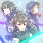 3girls black_hair brown_eyes brown_hair earrings eyebrows_visible_through_hair green_eyes hair_between_eyes hood hoodie houjou_karen idolmaster idolmaster_cinderella_girls jewelry kamiya_nao long_hair looking_at_viewer multiple_girls ponytail red_eyes shibuya_rin smile triad_primus upper_body yukimochi_(yume)