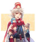 3boys 3girls anocurry aqua_(fire_emblem_if) blue_hair brown_hair chibi climbing fire_emblem fire_emblem_heroes fire_emblem_if hinoka_(fire_emblem_if) japanese_clothes kimono long_hair looking_at_viewer male_my_unit_(fire_emblem_if) multiple_boys multiple_girls my_unit_(fire_emblem_if) pink_hair pointy_ears ponytail red_eyes redhead ryouma_(fire_emblem_if) sakura_(fire_emblem_if) scarf siblings smile spiky_hair takumi_(fire_emblem_if) white_hair
