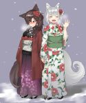 2girls :d ^_^ ^o^ alternate_costume animal_ears bangs blush breasts breath brown_hair closed_eyes closed_mouth embarrassed eyebrows_visible_through_hair facing_viewer fang floral_print flower full_body geta grey_background hair_flower hair_ornament hand_holding hand_up highres imaizumi_kagerou inubashiri_momiji japanese_clothes kimono long_hair long_sleeves looking_away matinmorgen medium_breasts multiple_girls nose_blush obi open_mouth print_kimono purple_kimono red_eyes sash short_hair silver_hair simple_background smile snow snowing standing sweat tabi tail touhou waving white_kimono wide_sleeves wolf_ears wolf_tail yukata