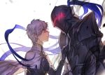 2boys armor berserker_(fate/zero) fate/grand_order fate/zero fate_(series) father_and_son galahad_(fate) helmet lavender_hair long_hair looking_at_another multiple_boys purple_hair