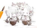 >_< 2girls :p abigail_williams_(fate/grand_order) bowl chopsticks closed_eyes fate/grand_order fate_(series) food highres ink japanese_clothes kimono lavinia_whateley_(fate/grand_order) long_hair monochrome multiple_girls new_year noodles sofra tongue tongue_out traditional_media