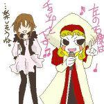 1boy 1girl androgynous couple demon koko(konjiki_no_gash) konjiki_no_gash music notes singing translation_request zofis