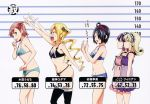 5girls a_flat_chest_is_a_status_symbol absurdres ailil_finian bare_shoulders black_hair black_legwear blonde_hair bra breast_envy breasts bust_chart flat_chest from_side hair_over_one_eye height_chart highres himegami_kodama lineup lingerie maken-ki! medium_breasts minaya_uruchi multiple_girls musical_note official_art panties profile purple_hair redhead reel_finian satou_kimi scan siblings sisters small_breasts stats takeda_hiromitsu thong twins twintails underwear underwear_only