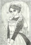 1girl apron closed_mouth dress emma_(victorian_romance_emma) frame frilled_apron frills glasses grey hair_up highres light_smile long_sleeves maid maid_headdress monochrome out_of_frame puffy_long_sleeves puffy_sleeves sayococco solo traditional_media v_arms victorian victorian_romance_emma watercolor_(medium)