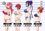 4girls absurdres bandaid bandaid_on_nose bare_shoulders blue_hair bra breasts brown_hair bust_chart celia_ootsuka cleavage collarbone from_side hand_on_hip heart_ring_bottom height_chart highres kushiya_inaho large_breasts lingerie maken-ki! measurements media_demitra multiple_girls navel official_art panties pink_hair pose profile redhead shinatsu_azuki sideboob sports_bra stats striped striped_panties takeda_hiromitsu underwear underwear_only violet_eyes
