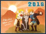 1boy 1girl animal blonde_hair blue_eyes green_hair link link_(wolf) long_hair pointy_ears princess_zelda sayoyonsayoyo sheikah_slate smile the_legend_of_zelda the_legend_of_zelda:_breath_of_the_wild wolf