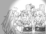 3girls ahoge bound chained chains closed_eyes commentary eating feeding flying_sweatdrops food greyscale guin_guin hair_flaps hair_ornament hairclip holding_lantern kantai_collection lantern lock long_hair monochrome multiple_girls neckerchief remodel_(kantai_collection) sailor_collar school_uniform serafuku sharing_food shigure_(kantai_collection) tied_up yamakaze_(kantai_collection) yuudachi_(kantai_collection)