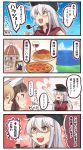 >:d 10s 4girls 4koma :d =_= alcohol arm_up blonde_hair blue_eyes brown_eyes brown_hair church clenched_hands comic commentary_request cup drinking_glass food gangut_(kantai_collection) glasses hair_between_eyes hammer_and_sickle hat hibiki_(kantai_collection) highres ido_(teketeke) kantai_collection littorio_(kantai_collection) long_hair long_sleeves multiple_girls open_mouth orange_eyes pasta peaked_cap pince-nez pipe pizza red_shirt remodel_(kantai_collection) roma_(kantai_collection) scar shaded_face shirt short_hair short_sleeves silver_hair smile spaghetti speech_bubble translation_request verniy_(kantai_collection) white_hat wine wine_glass