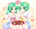 2girls :d :q bow cake child clenched_hands flower food fruit green_eyes green_hair hair_bow higurashi_no_naku_koro_ni maekawa_suu multiple_girls open_mouth ponytail sailor_collar shorts siblings sisters skirt smile sonozaki_mion sonozaki_shion strawberry tongue tongue_out translation_request twins younger