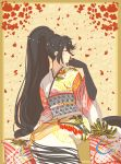 1girl absurdres artist_request black_hair highres japanese_clothes kimono long_hair ponytail solo tales_of_(series) tales_of_berseria velvet_crowe yellow_eyes