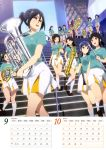 6+girls :d absurdres black_hair blue_eyes blue_hair blue_shirt calendar character_request day euphonium eye_contact hair_ribbon hibike!_euphonium highres holding holding_instrument instrument kasaki_nozomi kneehighs long_hair looking_at_another looking_back miniskirt multiple_girls nakaseko_kaori ogasawara_haruka one_leg_raised open_mouth outdoors pleated_skirt ponytail red-framed_eyewear ribbon semi-rimless_eyewear shirt short_sleeves sidelocks skirt smile stairs tanaka_asuka twintails white_legwear white_skirt yellow_ribbon yoroizuka_mizore