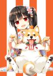 1girl :d absurdres black_hair blush cura dog enty_reward floral_print food fruit hachiroku_(maitetsu) hair_ornament head_tilt highres japanese_clothes kimono long_sleeves looking_at_viewer maitetsu mandarin_orange new_year open_mouth orange_background paid_reward red_eyes shiba_inu side_ponytail smile solo striped striped_background two-tone_background wide_sleeves year_of_the_dog