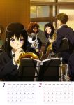 1boy 4girls absurdres black_bow black_hair black_jacket black_neckwear blue_eyes bow bowtie brown_eyes brown_hair brown_skirt calendar euphonium hibike!_euphonium highres holding holding_instrument indoors instrument jacket kousaka_reina looking_away multiple_girls open_mouth open_window oumae_kumiko pleated_skirt sasaki_azusa shirt skirt standing sweatdrop tsukamoto_shuuichi white_shirt yellow_eyes