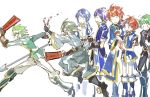 alm_(fire_emblem) armor blue_eyes blue_hair cape celice_(fire_emblem) closed_eyes eliwood_(fire_emblem) ephraim fire_emblem fire_emblem:_fuuin_no_tsurugi fire_emblem:_monshou_no_nazo fire_emblem:_rekka_no_ken fire_emblem:_seima_no_kouseki fire_emblem:_seisen_no_keifu fire_emblem_cipher fire_emblem_echoes:_mou_hitori_no_eiyuuou fire_emblem_heroes green_hair innes long_hair male_focus marth multiple_boys noki_(affabile) redhead roy_(fire_emblem) short_hair smile