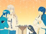 1girl blue_eyes blue_hair blush board_game cape celice_(fire_emblem) chair chess diadora_(fire_emblem) dress father_and_son fire_emblem fire_emblem:_seisen_no_keifu gloves headband highres long_hair male_focus mother_and_son short_hair sigurd_(fire_emblem) simple_background smile