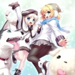 2girls air beanie beret black_hat black_legwear blonde_hair blue_eyes blue_scarf braid capelet company_connection crossover dog dress earmuffs fishnet_pantyhose fishnets grey_skirt hat kamio_misuzu key_(company) little_busters! long_hair looking_at_viewer multiple_girls noumi_kudryavka open_mouth pantyhose pleated_skirt potato_(air) scarf short_hair silver_hair skirt smile strelka white_dress winter_clothes zen