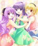 3girls :d ;d blonde_hair blue_hair dress fang flower furude_rika girl_sandwich hairband hanyuu higurashi_no_naku_koro_ni horns houjou_satoko hug maekawa_suu multiple_girls one_eye_closed open_mouth pink_eyes purple_hair sandwiched shorts smile violet_eyes